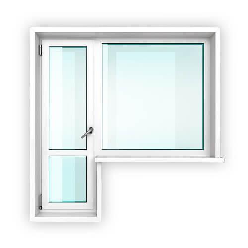 Балконный блок со стеклом и перемычкой