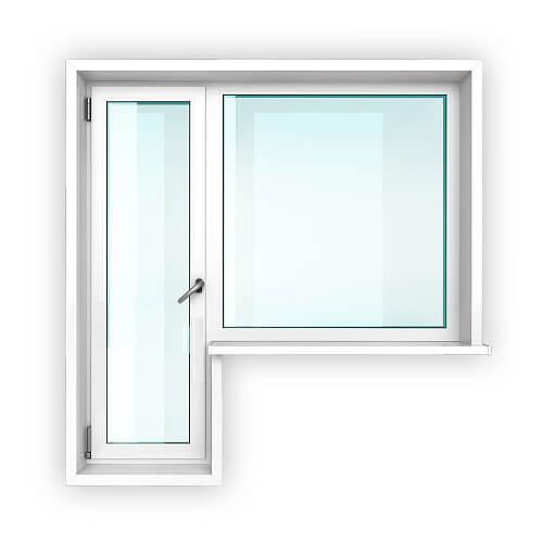 Балконный блок со стеклом без перемычки