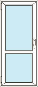 Прозрачная балконная дверь с перемычкой